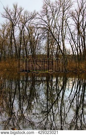 Abandoned Ruins Skeleton Of Barge Near The Shore Of Lake. Bare Trees In The Background. Trees Reflec