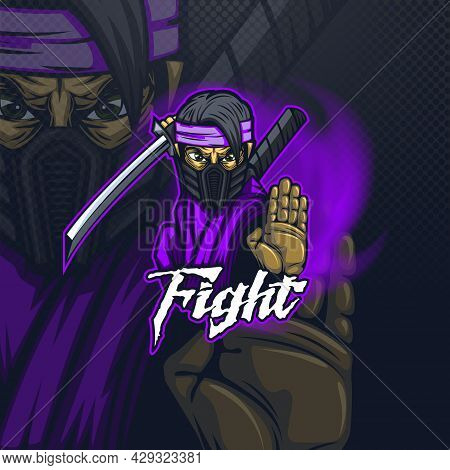 E-sport Logo Mascot For A Team Or For Printing On A T-shirt With A Combat Ninja.