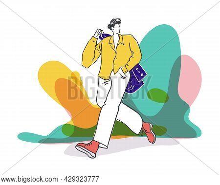 Men Fashion Flat Illustration Concept Vector Design