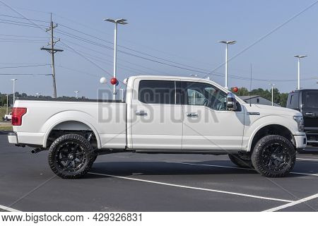 Harrison - Circa August 2021: Ford F-150 Display At A Dealership. The Ford F150 Is Available In Xl,