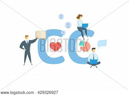 Cc, Chief Complaint. Concept With Keyword, People And Icons. Flat Vector Illustration. Isolated On W