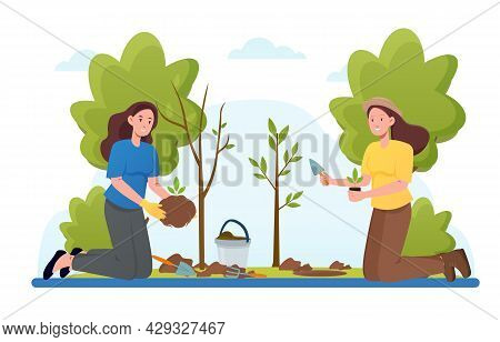 Reforestation, Save Earth Ecology. Humans Planting Trees, Sustainable Energy Poster, Forest Cover Re