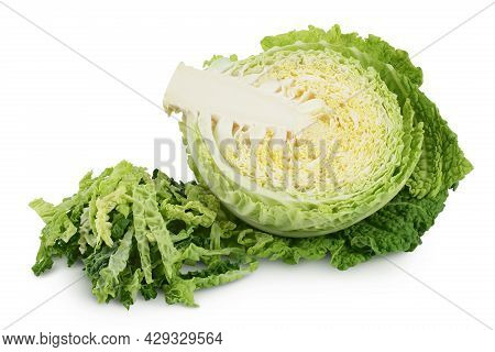 Savoy Cabbage Half Isolated On White Background With Clipping Path And Full Depth Of Field
