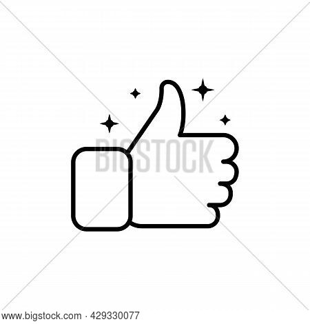 Hand Thumb Up Gesture With Shine Line Icon. Testimonials, Like And Customer Relationship Management