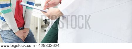 Man With Dysfunction Problems Doctor Appointment Closeup
