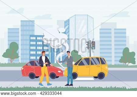 Vector Flat Cartoon Characters In Road Accident Scene.two Cars Collided, Their Owners Argue About Wh