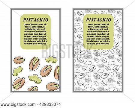 Set Of Cards Banners, Tags, Package With Hand Draw Nuts - Hazelnut, Pistachio. Modern Vector Illustr