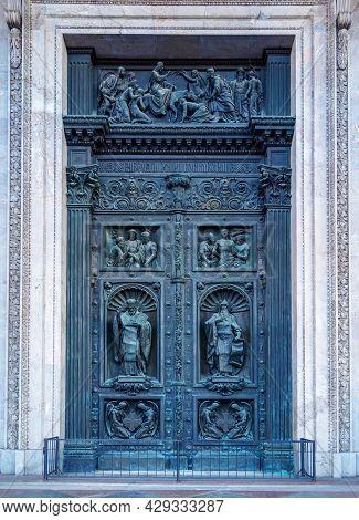 Saint Petersburg, Russia - November 2020 - The Northern Door Of Saint Isaac's Cathedral Representing