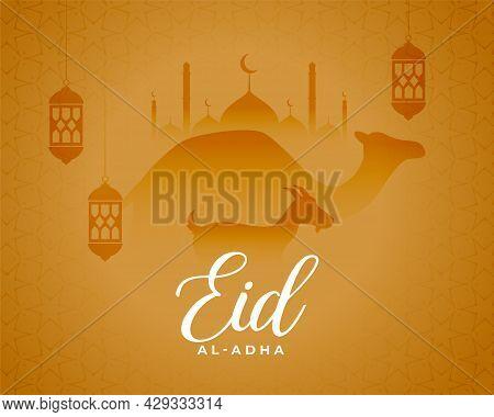Eid Al Adha Religious Celebration Card Design Vector Illustration