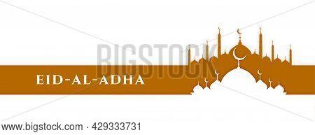 Islamic Eid Al Adha Bakrid Festival Mosque Banner Design Vector Illustration