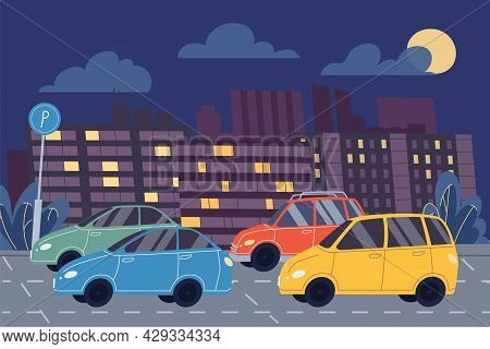 Vector Flat Cartoon Cars Are In Parking Lot, City Car Park On A Night Cityscape Background-web Onlin