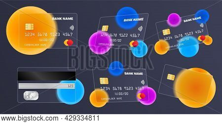Collection Of Transparent Bank Cards On Dark Background. Concept Of Glass Credit Card With Abstract