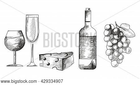 Hand Drawn Monochrome Wine Set On White Background. Wine Bottle, Glass Full Of Wine, Cheese And Grap