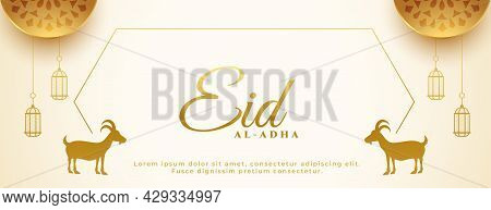 Golden Eid Al Adha Festival Banner With Goat And Arabic Decoration