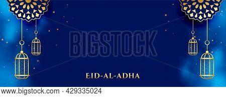 Nice Luxurious Eid Al Adha Festival Banner Design Vector Illustration