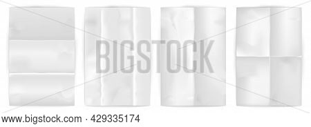 Set Of Blank Wrinkled Paper On White Background. Realistic White Empty Poster Mockups With Crumpled