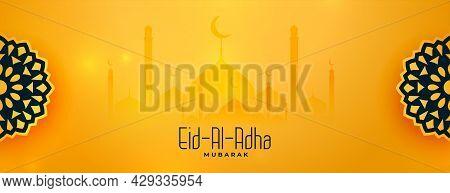 Beautiful Eid Al Adha Yellow Decorative Banner Design Vector Illustration
