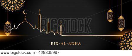 Islamic Holy Eid Al Adha Festival Golden And Black Banner