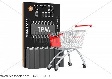 Shopping Cart With Trusted Platform Module, Tpm. 3d Rendering Isolated On White Background