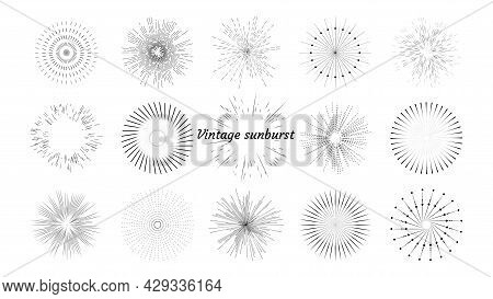 Vintage Vector Set Of Sun Rays, Light Rays, Sun Rays. Design Elements, Linear Drawing, Vintage Style