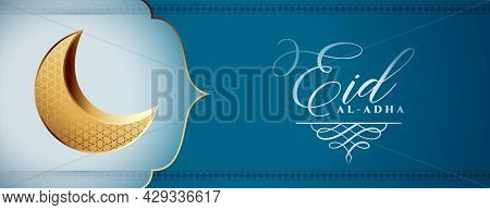 Eid Al Adha Bakrid Festival Wishes Banner Design Vector Illustration