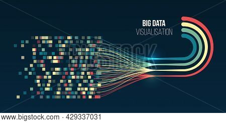 Sorting Data. Vector Waves Technology Background. Abstract Stream Information With Lines Array And B