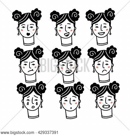 Female Faces Expressions With Feelings, Moods, Emotion. Set Of One Woman Portraits. Happy, Sad, Angr