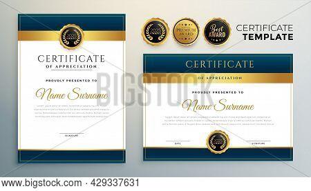 Modern Diploma Certificate Multipurpose Template In Golden Color