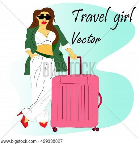 Beautiful Girl, A Tourist, A Business Woman In A Trendy Green Costume With A Pink Suitcase Is Travel