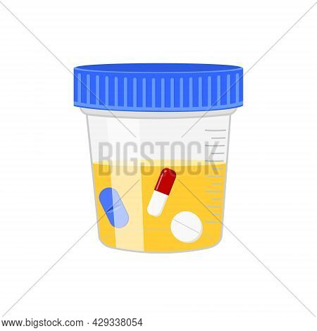 Urine Sample With Floating Pills. Positive Drug Test Result. Doping Control In Sport, Post Accident