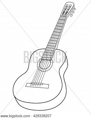 Guitar Musical Instrument - Vector Linear, Picture For Coloring Or Logo. Outline. Acoustic Guitar -