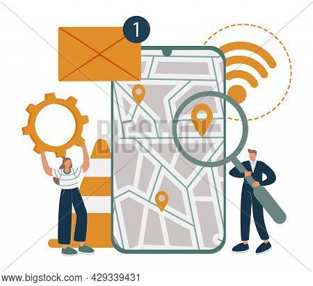 Smartphone Application Abstract Concept Vector Illustration. Messaging Application, Mobile Tracking