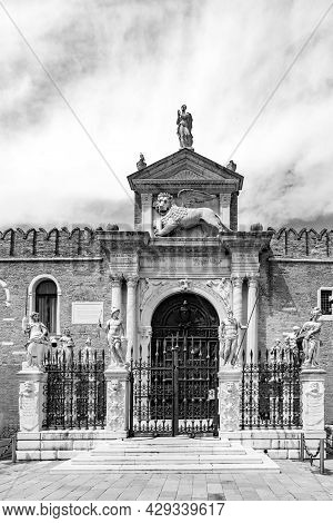 View Of The Historic Main Water Entrance To The Vast Historic Naval Base Of Venice, Arsenale