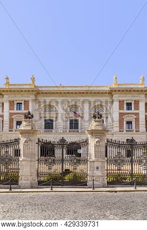 Rome, Italy - July 31, 2021: View To The American Embassy In Rome, Italy Located In An Old Historic