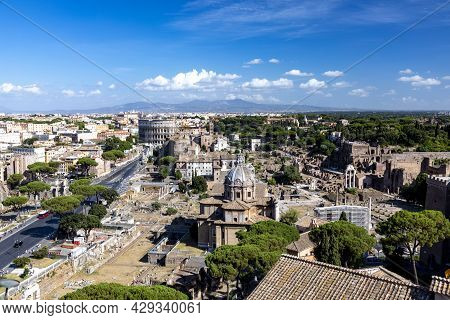 Panoramic View To The Roman Colloseum And The Roman Forum Also Called Forum Romanum In Rome, Italy