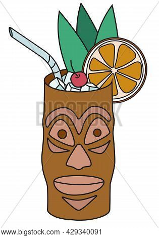 Stylish Hand-drawn Doodle Cartoon Style Vector Illustration. Sweet Caribbean Tiki Cocktail In The Id