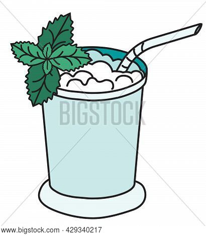 Stylish Hand-drawn Doodle Cartoon Style Mint Julep Cocktail Metal Chrome Silver Mug With A Straw Vec