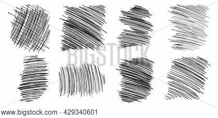 Sketch Hatching. Pen Hatching Freehand Pen Scribbles Set Black Line Sketching. Pen Drawing Illustrat