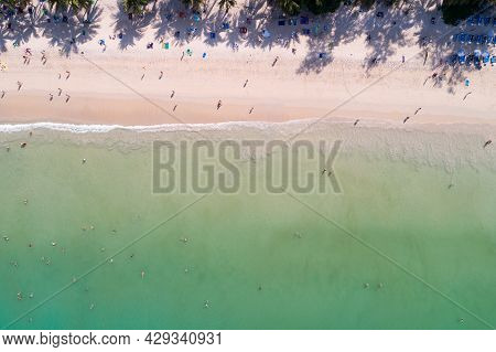 Amazing Sea Aerial View Top Down Sea Beach Nature Background Beautiful Tropical Beach With Turquoise