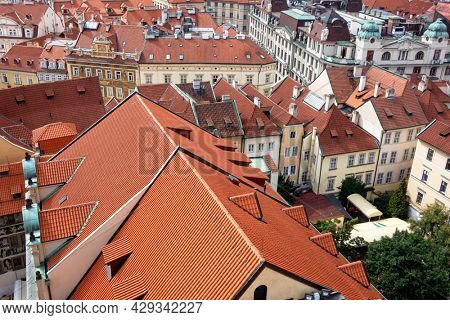 Red roofs in Prague, Top view of the red roofs,
