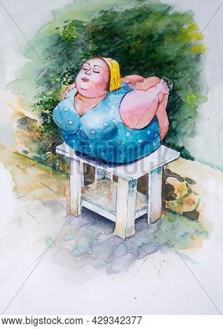 Plump Woman Is Engaged In Yoga Outdoor. Body Positive Watercolor