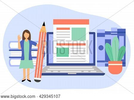 Copywriter Freelance And Blogger Author Create Online Article Content Concept Vector Illustration. F