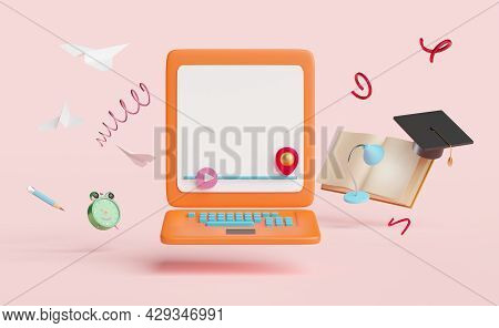 Orange Laptop Computer With Play Bar,book, Lamp,pencil,hat Graduation,paper Plane, Alarm Clock Isola