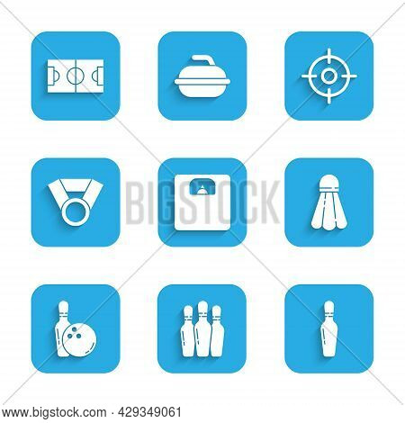 Set Bathroom Scales, Bowling Pin, Badminton Shuttlecock, And Ball, Medal, Target Sport And Football