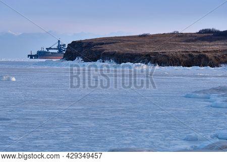 Vanino, Russia - Jan 18, 2021: Vanino Bay In The Tatar Strait In Winter. The Frozen Sea.