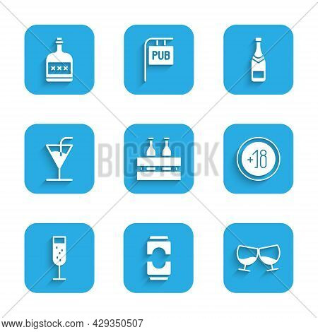 Set Pack Of Beer Bottles, Beer Can, Glass Cognac Or Brandy, Alcohol 18 Plus, Champagne, Cocktail, Ch