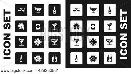 Set Champagne Bottle, Beer Can, Wooden Barrel On Rack, Glass Of Cognac Or Brandy, Cocktail, And Mart