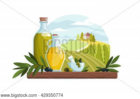 Organic Olive Oil Product In Bottle Vector Illustration. Healthy, Natural Oil Flat Style. Mediterran