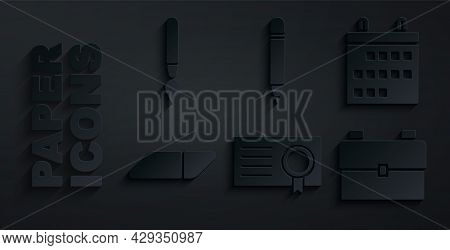Set Certificate Template, Calendar, Eraser Or Rubber, School Backpack, Pencil With Eraser And Paint