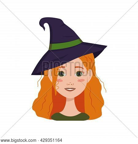 Avatar Of A Woman With Red Curly Hair, Emotions Of Joy And Happiness, Smile Face And Wearing A Witch